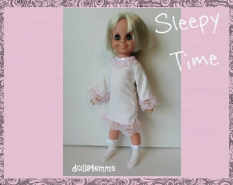 SALE = Vintage Ideal VELVET Doll CLOTHES - Sleepy Time Nightgown and Sock Booties - Handmade PJs Custom Fashion - by dolls4emma