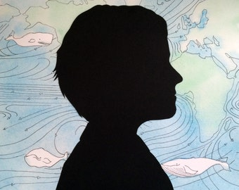 Custom silhouette with custom watercolor and ink background