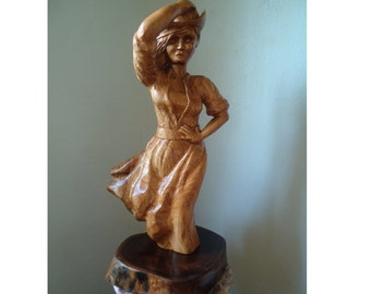 """Carved Wood Statue 25"""" tall - Wood sculpture - Farmhouse decor - Large wood sculpture - Wood carving - Female figure - Tall wood sculpture"""