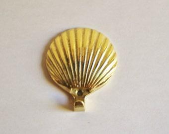 Vintage Brass Shell Hook