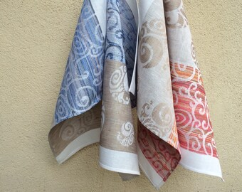 Linen guest towels set of 2 hand towels beige blue red striped natural linen kitchen tea towels