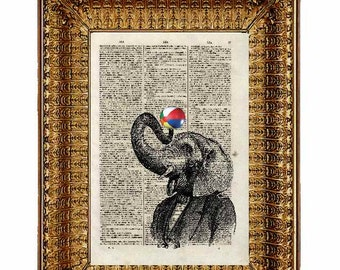 Instant Digital download of Of Elephant art work dictionary art - dictionary page
