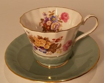 Vintage Ansley Bone China England  Cup and Saucer, Turquoise Green Rim, Multifloral Design,  #2958
