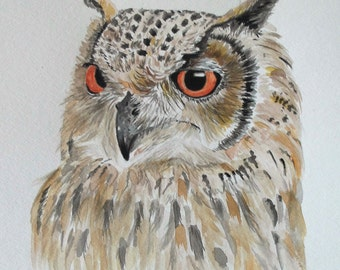 Owl Fine Art Print from Original Watercolor Painting by Adriana Holmes