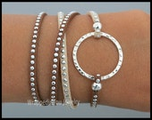 BOHO Wrap Bracelet - Silver INFINITY Eternity Circle Stackable Wrap Studs Studded Faux Suede Adjustable Bangle Bracelet - By Alex and Renee