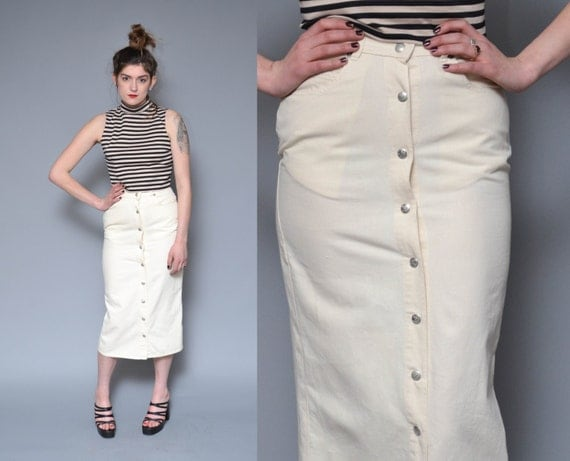 Button Up Denim Skirt 90s High Waisted Midi Skirt M White