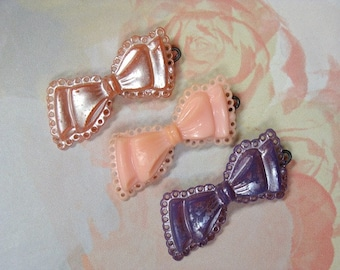 Hair Barrettes Three Bows Mid Century Vintage Pink & Purple SMALL