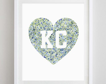 Kansas City Heart Floral Watercolor Print
