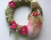 Fairy Wreath. Felted .Waldorf.  Elf. Summer Spring wreath.  Felted flower.
