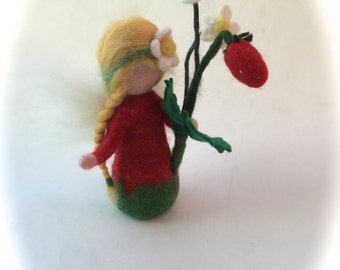 Strawberry Fairy.Flower child.Hand-felted. Wet  felted. Waldorf. Felted.