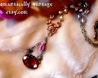 Victorian Necklace, Beaded Charms, Shabby Chic Pearls, Romantic Jewelry, Wedding Gift, Gift Ideas, For Women, Vintage Inspired, Nature