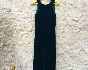 90s Dark Green Velvet Tank Empire Waist Maxi Dress
