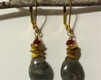 Labradorite Teardrop & Red Jade Earrings