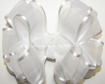 White Hair Bow / Organza Satin Ribbon Baby Headband / Girls Toddler Accessories Clip / White Communion Bow / Baptism Bow / Flower Girls Bow
