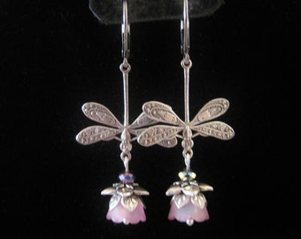 Art Nouveau Victorian Antique Silver plated Dragonfly Dangle Earrings Pink Lucite Flowers Flower Bead Caps Lever Back