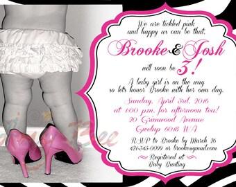 Printable Baby Girl Shower Invitation - Damask, Zebra, Leopard, Floral
