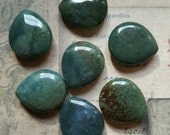 Lot of 7 Blue-green stone teardrop beads