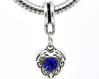 2 Pieces - European Antique Silver Tone Dangle Heart Rhinestone Charm Sapphire Blue for September Birthstone