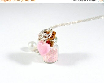 ON SALE Fairy Kei Fairy Dust Glitter Bottle Charm Necklace, Choice of Sterling Silver Chain, Cute, Kawaii :D
