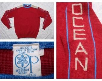 Vintage Retro Men's Ocean Pacific Sweater OP Red Grey Blue OP Print Sweater Large