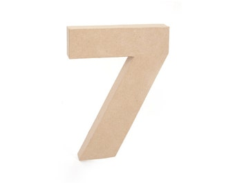 Paper Mache Cardboard 12 Inch Number 7 - Numbers - Seven - Paper Craft Party Decor Supplies