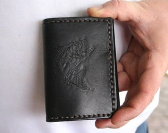 READY TO SHIP Mens leather Trifold wallet with big bass gift for fisherman. Black Mens Leather Wallet. Gift for Husband.