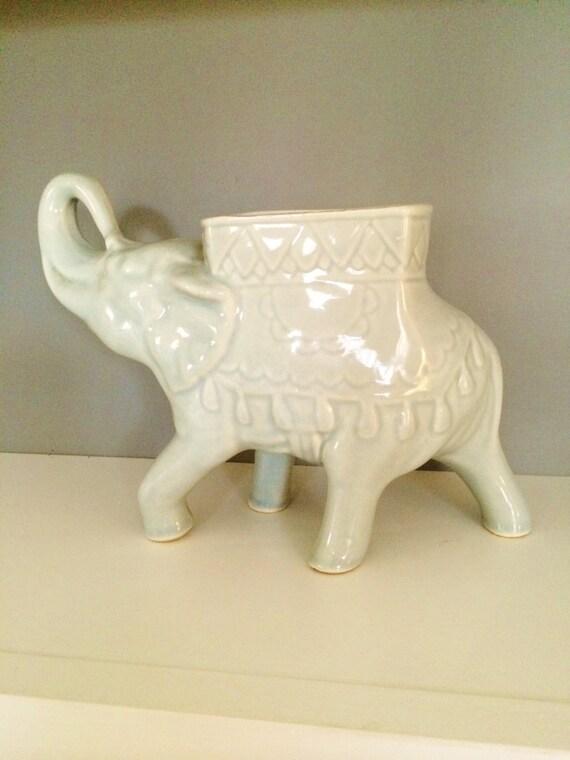 Gray Elephant Planter Ceramic Elephant Vintage Asian