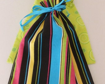 Flannel Shoe Bags - Green Dots and Black, Blue, Pink and Yellow Print