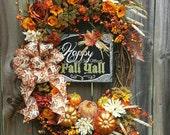 Fall wreath, Thanksgiving wreath, XL Happy Fall Ya'll Pumpkin Wreath, Fall decor, Pumpkin Wreath, Autumn flowers, Fall floral grapevine