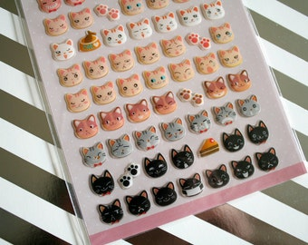 Cute Cat Face Sticker Sheet