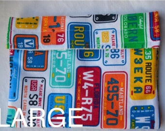 Reusable Snack Bag, Reusable Sandwich Bag, Reusable Baggie, Eco Snack Bag, Reusable Lunch Bag, Large Snack Bag, License Plate Bag