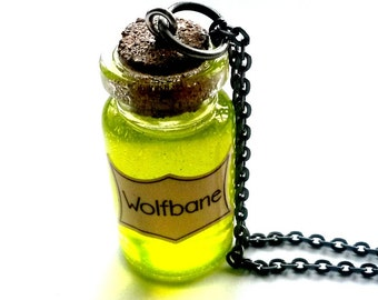 Wolfbane Potion Necklace Steampunk Vial Handmade Gift