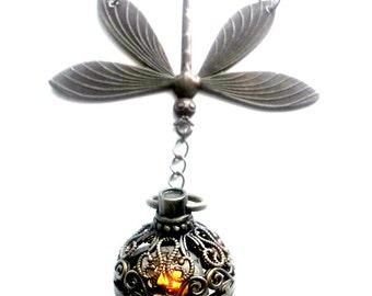 Dragonfly in Amber Light Up Necklace Outlander Inspired Handmade Gift