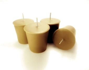 Perfumed Soy Votive Candles- Woods. All natural Essential Oil Scented Candles. Pure Soy. Set of 4.
