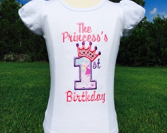 1st BIRTHDAY PRINCESS-Personalized EMBROIDERED Bodysuit or T-Shirt