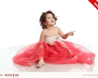 Coral flower girl dress - Uma