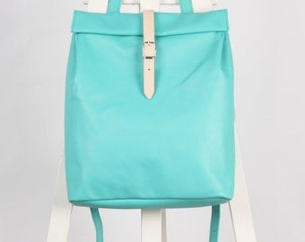 Mint green leather backpack rolltop rucksack / To order