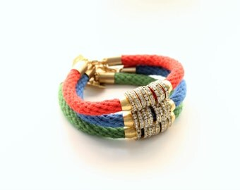 Hand Dyed Cotton Nautical Rope and Gold Rhinestone Brass Bracelet