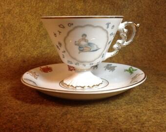 Vintage Tea Cup - Astrological Signs Featuring Aquarius - Ucagco Ceramics Japan
