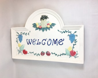 SALE Vintage WELCOME SIGN Painted Ceramic Wall Decor Kitchen Home Decor Welcome Plaque
