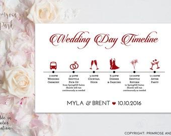 Wedding Timeline Cards Printable // Wedding Day Itinerary // Wedding Schedule of Events //Wedding Weekend Bag