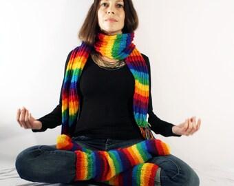 Rainbow Hand Knit woolen Socks and Scarf winter set warm hippie
