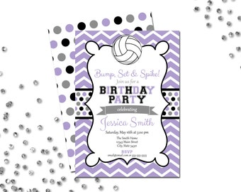 Volleyball Birthday Party Invitation - Chevron Stripes - Purple and Black - Polka Dots BACKSIDE INCLUDED - DIY - Printable