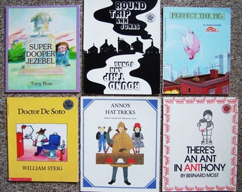 1980s Childrens Book Lot of 24 - Super Dooper Jezebel, Perfect The Pig, Round Trip, Anno's Hat Tricks, Bread and Honey, Sam and the Firefly