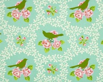 Baby Bedding Crib Bedding - Aqua Mockingbird, Lace, Floral Pink