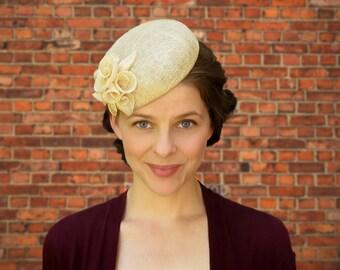 Beatrice - Natural Straw Sinamay Fascinator Wedding Garden Party Hat