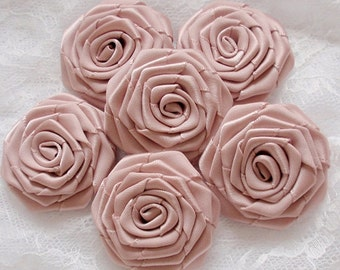6 Handmade Ribbon Roses (1-1/2 inches) In Vanilla MY-028-172 Ready to Ship