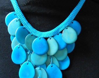 Tagua Bicolor Bib/ Crochet Necklace