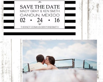 Modern Stripe Photo Save the Date