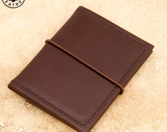 Leather ID/travel card holder (brown buffalo calf)